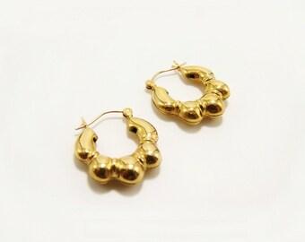 Vintage Faceted 14k Gold Hoop Statement Earrings 1 316