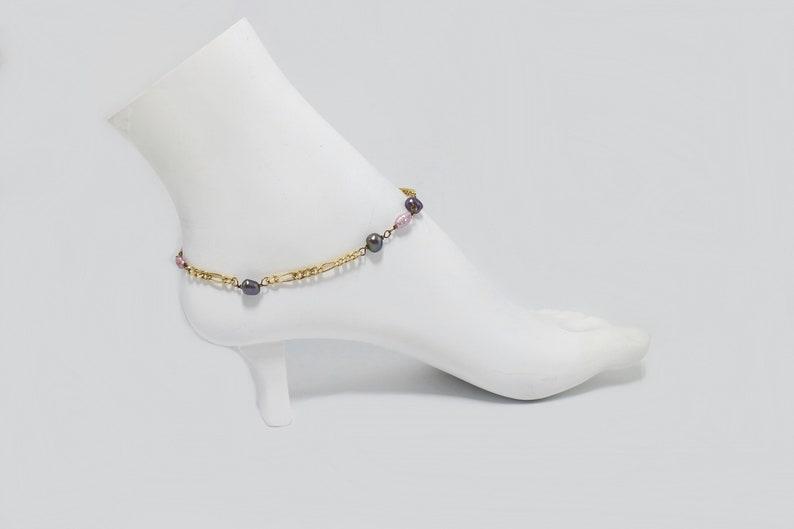 Unique Eggplant Pearls Gold Anklet 11.5 inches  adjust 10.5-14k 120 Gold Filled