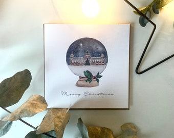 Personalised Christmas Card Watercolour Snowglobe- Northern Ireland Belfast City Hall