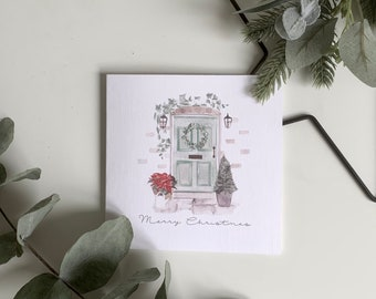 Personalised Christmas Card Watercolour Home Door with Wreath