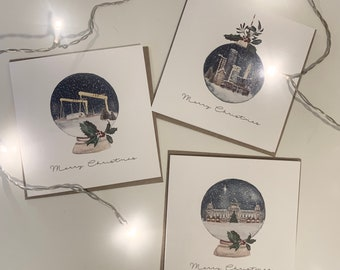 Personalised Christmas Card Watercolour Belfast Northern Ireland Collection- Mixed Pack (City Hall, Belfast Skyline, Harland & Wolff Cranes)