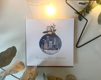Personalised Christmas Card Watercolour Decorative Bauble Northern Ireland Belfast Skyline