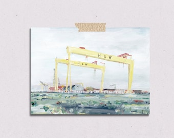 Harland and Wolff/ Samson and Goliath Belfast Northern Ireland Colour Acrylic/Gouche Art Print