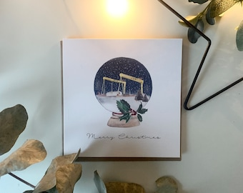 Personalised Christmas Card Watercolour Snowglobe Northern Ireland Harland and Wolff Belfast