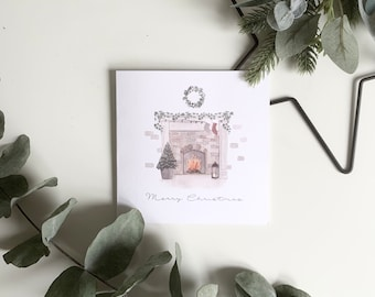 Personalised Stocking Initials Christmas Card Watercolour Home Fireplace