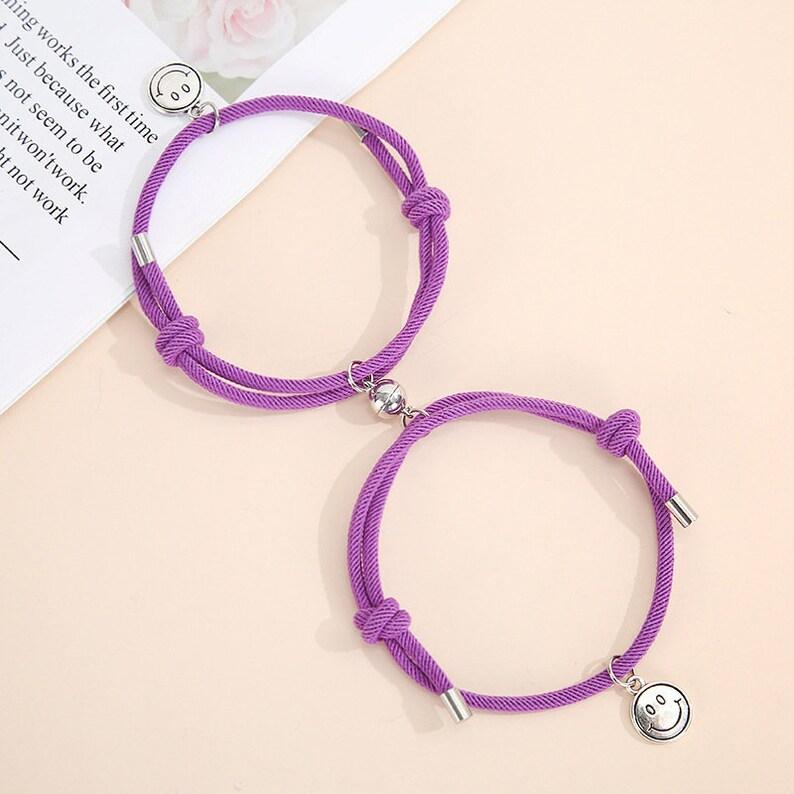 Couple Magnetic Bracelets-7 Colors Available-Smiling Face Couples Bracelet\u2013 Milan Cord Couples Bracelet Friendship Bracelet Set of 2