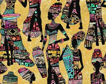 African Ladies Fabric by Timeless Treasures - 100% Cotton Fabric by the Yard - Sand - Brown - C7420