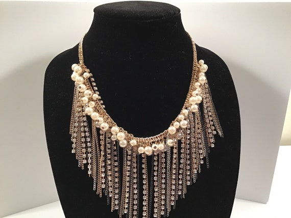 Vintage multi chain tassel type necklace