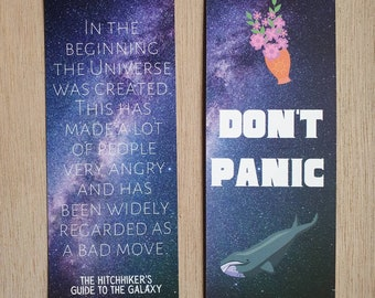 The Hitchhiker's Guide to the Galaxy Bookmark   Douglas Adams  Reading Gift   Book Gift   Sci Fi   Don't Panic  