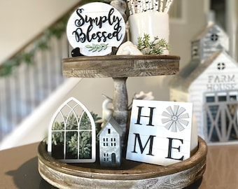 Farmhouse Tiered Tray Decor| Home Decor| Farmhouse| Tiered Tray Signs| Mini Sign| Simply Blessed| Home Windmill| Kitchen