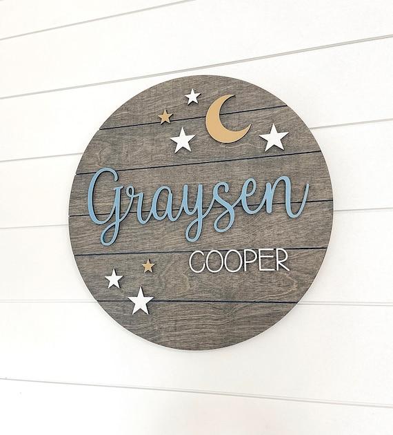Moon and Stars Nursery Sign  Custom Baby Name Sign  Nursery