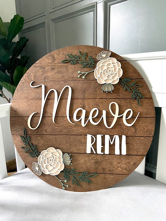 Round Shiplap Nursery Name Sign  Baby Girl Sign  Round Wood