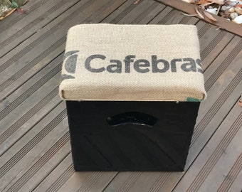 """Geschidee beer box seat """"Coffee sack"""" for the 11-seat padded seat pad beer box/wooden box Handmade"""