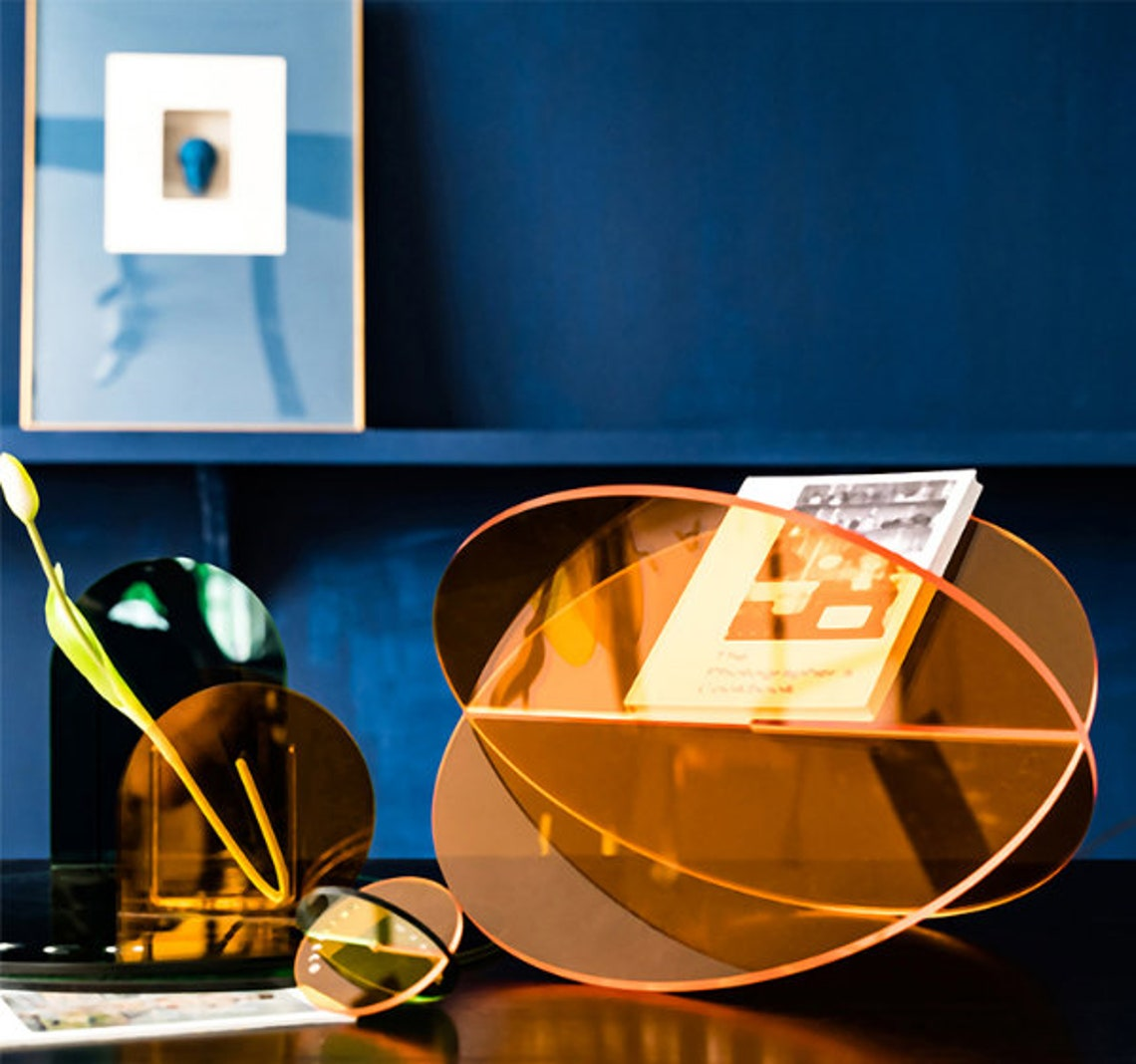 Acrylic Book shelf, book holder, Transparent  Acrylic magazine holder, News paper rack, Minimalist Decor, Sample Design, 5 Colors