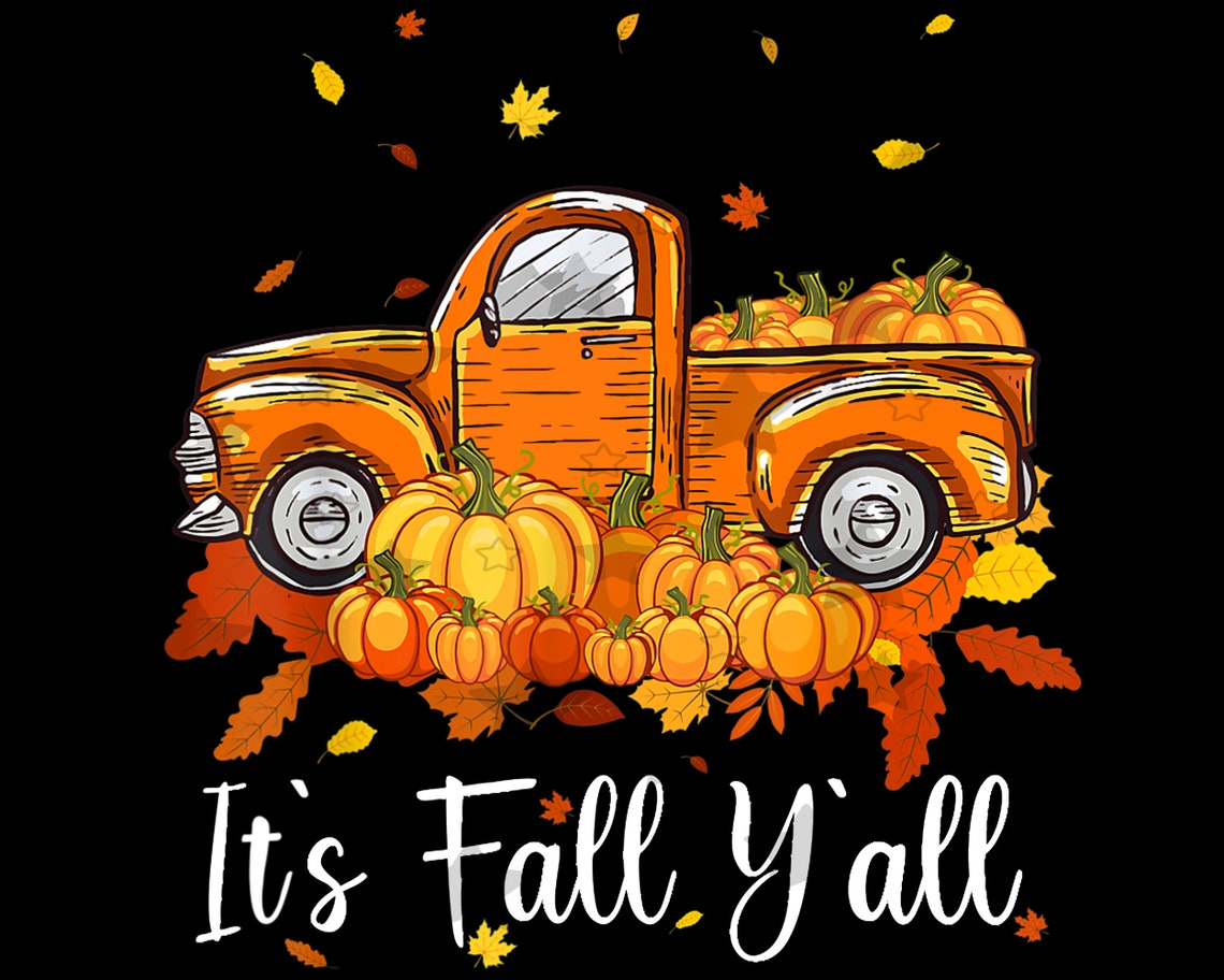 Truck It's Fall Y'all Pumpkins Thanksgiving Halloween image 1