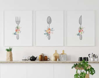 Kitchen Wall Decor, Kitchen Wall Art Set of 3, Kitchen Print, Dining Room Wall Art, Farmhouse Kitchen Home Decor, Knife Fork Spoon Wall Art