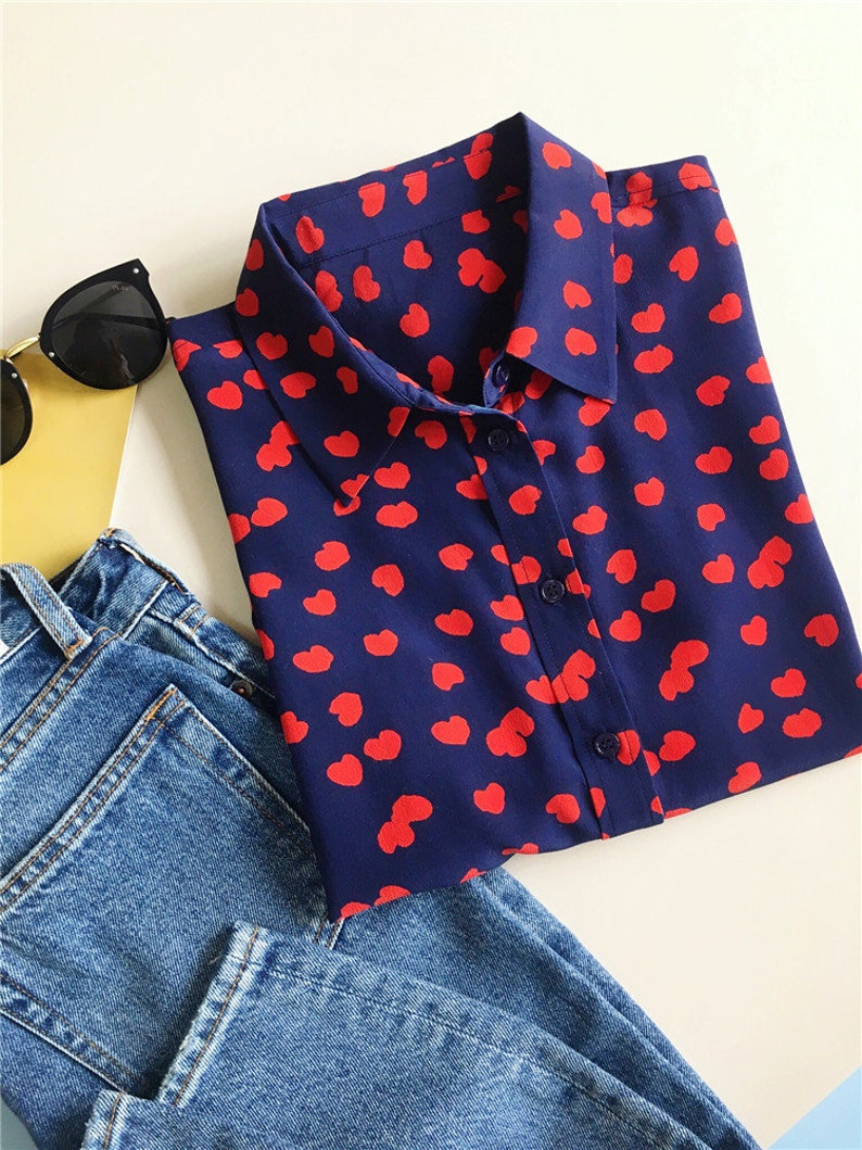 100/% pure silk little heart printed long sleeves button down shirt women blouse top work outfit  capsule wardrobe nonothing fashion