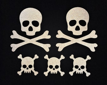 Skull and Crossbones 3M Reflective Stickers Decals Reflector Pack   Stealth Black Color