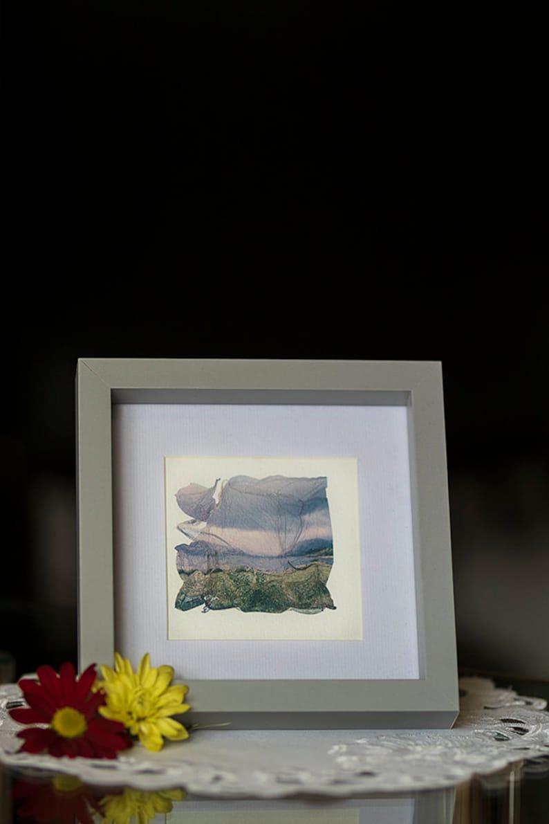 Polaroid emulsion lift Loch Laich beach from Scotland project