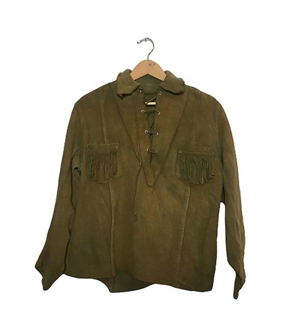 70's Western Suede Fringed Overshirt