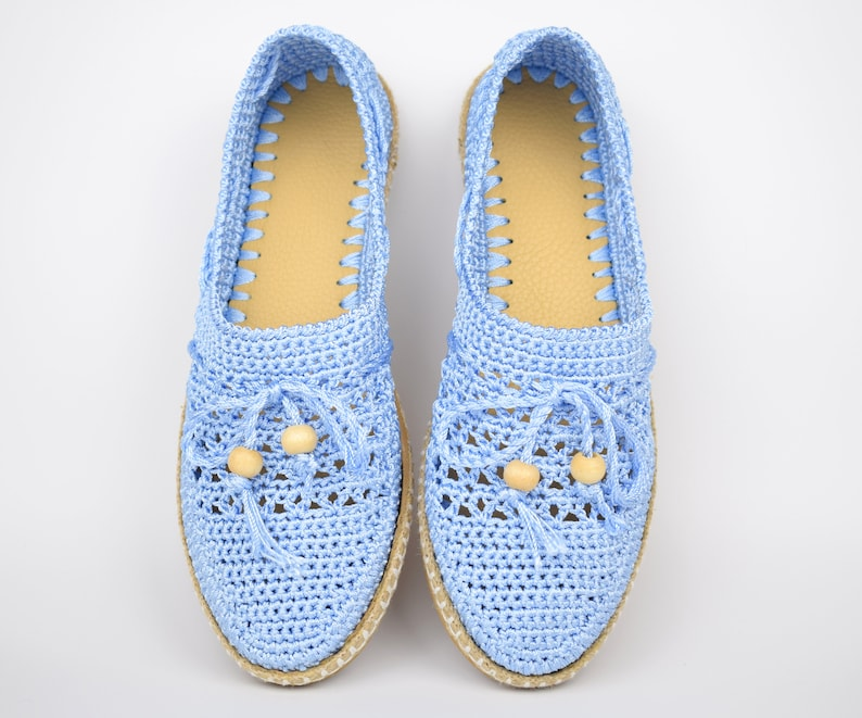 1930s Shoes – Art Deco Shoes, Heels, Boots, Sandals Women blue knitting shoes flat comfortable hand-knitted shoes for summer $60.00 AT vintagedancer.com
