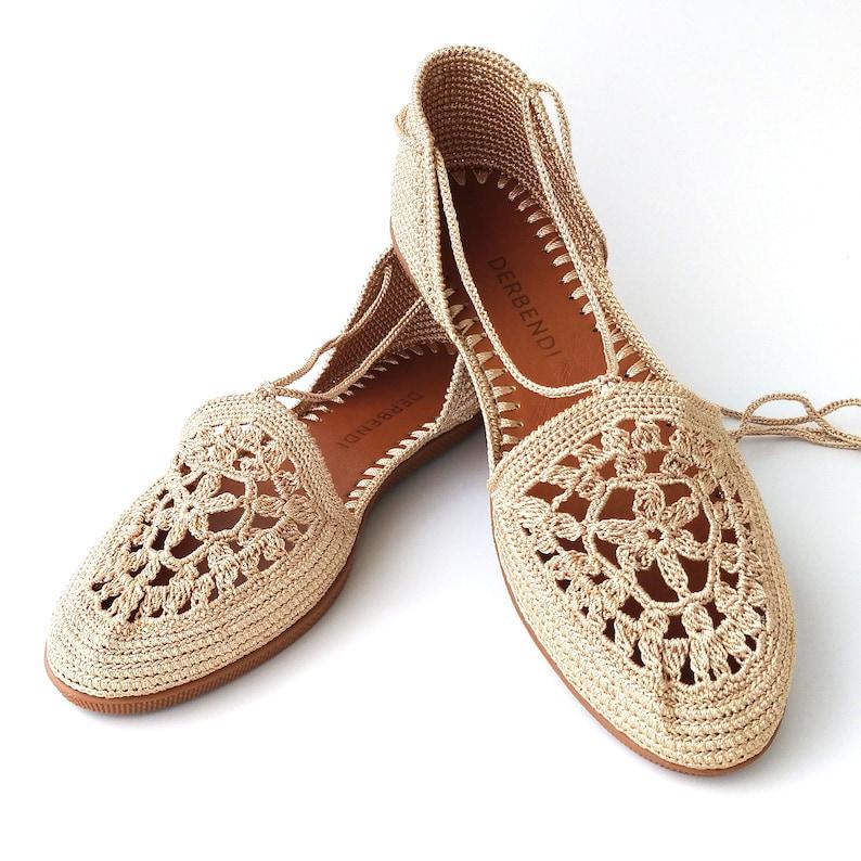 1940s Women's Footwear Women light brown knitting sandals flat comfortable hand-knitted crochet shoes for summer $86.40 AT vintagedancer.com