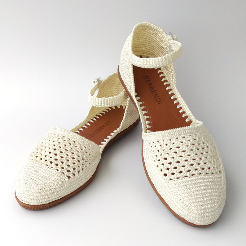 Retro Vintage Flats and Low Heel Shoes Women off-white knitting sandals flat comfortable hand-knitted crochet shoes for summer $86.40 AT vintagedancer.com