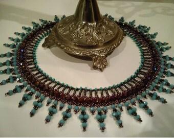 Beaded Bib Necklace Boho Sand beads ethnic jewelry,Accessory, Necklace, Elegant, stylish, Turquoise, Brown,Anniversary, Valentine's Day,Gift