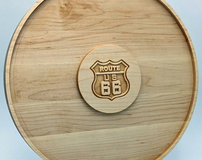 Solid Hard Maple - 12 Inch Round Charcuterie Platter with Route 66 sign. Also includes Solid Maple Holder