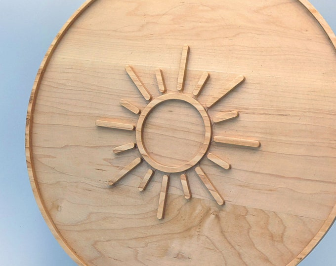 Solid Hard Maple - 14 Inch Round Charcuterie Platter with Southwest Sun Graphic. Also includes Solid Cherry Holder