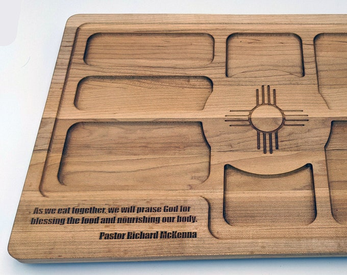 """Zia Symbol Charcuterie Tray - Solid Hard Maple with an area to add your special message - 16"""" wide, 10.25"""" tall and 3/4"""" thick"""