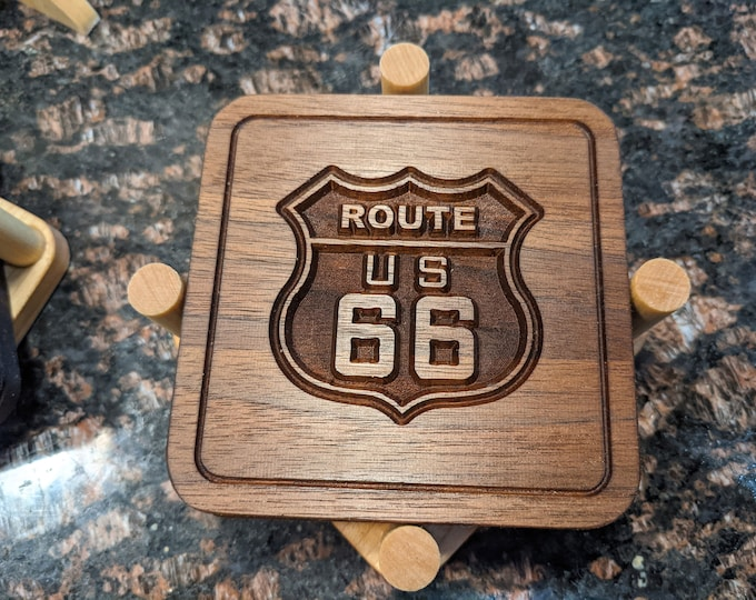 4 Solid Walnut Wood Route 66 Coasters in a Solid Hard Maple Holder - NO Laser, NO Heat Transfer but Real Engraved Wood