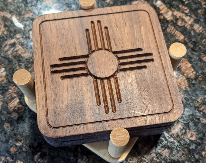 4 Solid Walnut Wood Zia Symbol Coasters in Solid Hard Maple Holder - NO Laser, NO Heat Transfer but Real Engraved Wood