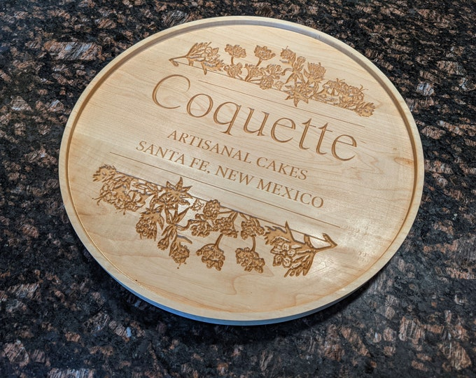 Custom Logo and Message 14 inch Serving, Charcuterie Platter with Stand. A large 14 inch platter that is made from Hard Maple.