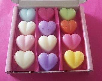 Personalised Birthday Handmade Soy wax melts mini hearts Gift Box
