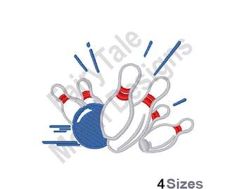 Bowling Strike - Machine Embroidery Design, Bowling Pins Outline Embroidery Pattern, Bowling Ball Embroidery Design
