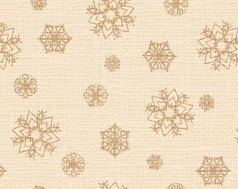 Snowflake Ecru - Postcard Holiday - 100% Cotton - P&B Textiles - Christmas fabric - POHO 4442 E