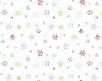 Snowed In Snowflakes White, Heather Peterson of Anka's Treasures for Riley Blake Designs,  100% Cotton, Christmas fabric, C10815-WHITE