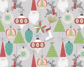 Bells & Baubles Grey - Fa La La - 100% Cotton - Retro Christmas - Maude Asbury for Free Spirit Fabrics - PWMA015.XGREY