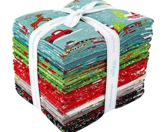 Snowed In Fat Quarter Bundle, Heather Peterson of Anka's Treasures for Riley Blake Designs,  100% Cotton, Christmas fabric, FQ-10810-26
