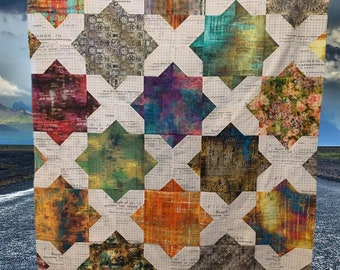 Floored Quilt Kit featuring Fabric by Tim Holtz - Woolly Petals Floored Quilt