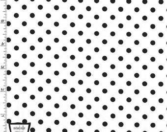 Dumb Dot - White - Black and White - Polka Dots - Fabric By The Yard - 100% Cotton - Michael Miller Fabrics - CX2490-DALM-D