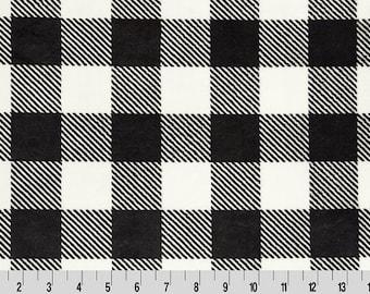 Black and White Buffalo Check Minky - Cuddle® Minky -1/2 Yard Increments -  Shannon Fabrics
