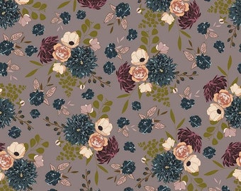 Main Floral Taupe Sonnet Dusk - Floral - 100% Cotton - Riley Blake Designs - Fabric By The Yard - C11290-TAUPE