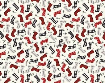 Farmhouse Christmas Stockings Cream, Echo Park Paper Co for Riley Blake Designs, 100% Cotton, Christmas fabric, C10952-CREAM