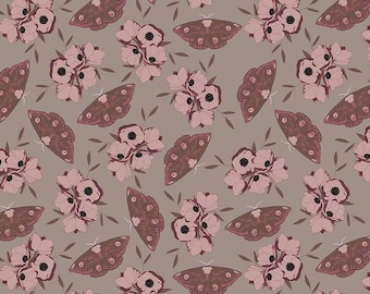 Moths Taupe Sonnet Dusk - Floral - 100% Cotton - Riley Blake Designs - Fabric By The Yard - C11292-TAUPE