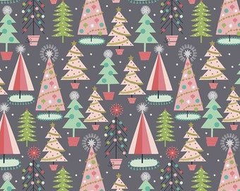 Christmas Spruces Grey - Fa La La - 100% Cotton - Retro Christmas - Maude Asbury for Free Spirit Fabrics - PWMA012.XGREY