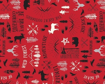Wild At Heart - Main Red - 100% Cotton - Riley Blake Designs - Fabric By The Yard - C9820Red