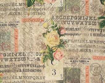 Rose Parcel - Foundations by Tim Holtz - Fabric By The Yard - 100% Cotton - Free Spirit Fabrics - PWTH035.8MULT