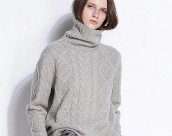 Pure Wool Cashmere Sweater / Fashionable Turtleneck Women Sweater / Tan Cashmere Sweater / S - XL